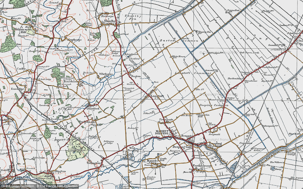 Old Map of Langtoft, 1922 in 1922