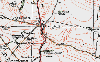 Old map of Langtoft in 1924