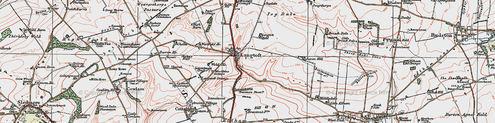 Old map of Woodbine Cott in 1924