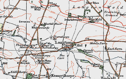 Old map of Langton Wold in 1924