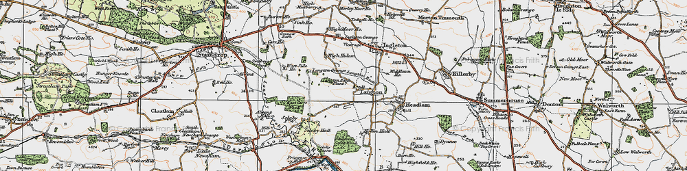 Old map of Alwent Hall in 1925