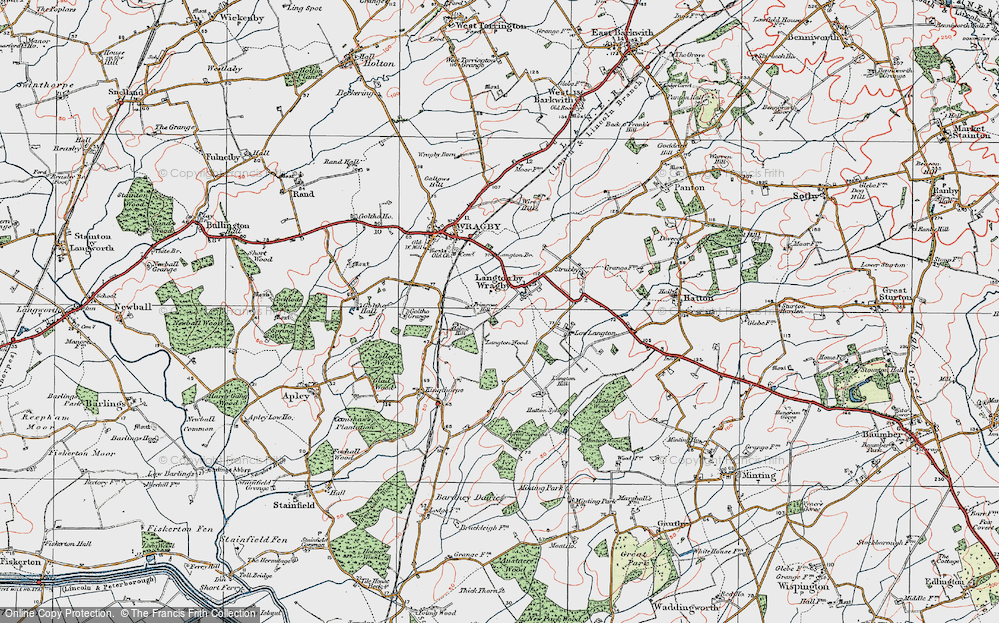 Old Map of Langton by Wragby, 1923 in 1923