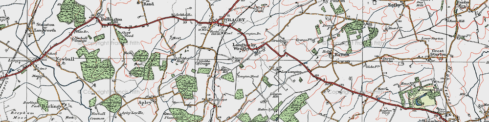 Old map of Langton by Wragby in 1923