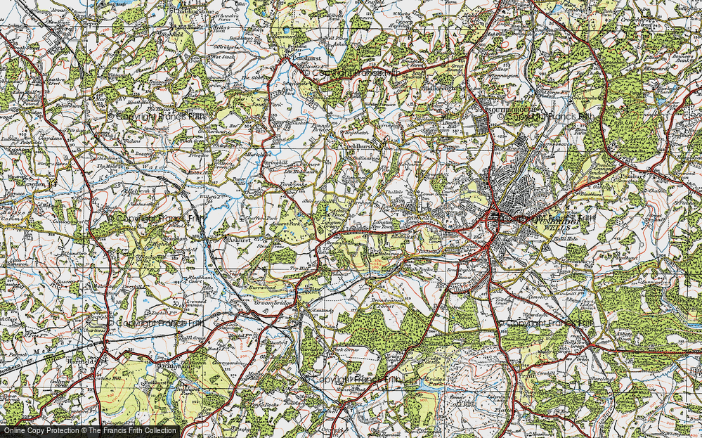 Old Map of Historic Map covering Ashurst Place in 1920