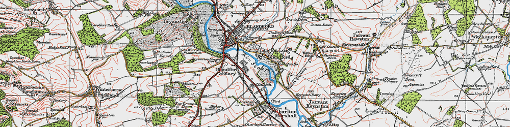 Old map of Langton Long in 1919