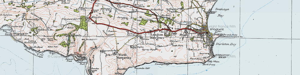 Old map of Langton Matravers in 1919
