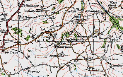 Old map of Langtree in 1919