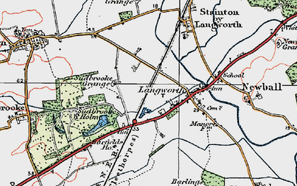 Old map of Langworth in 1923