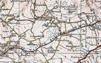 Old map of Lanjeth in 1919