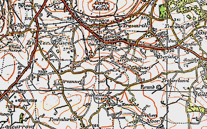 Old map of Lanner in 1919