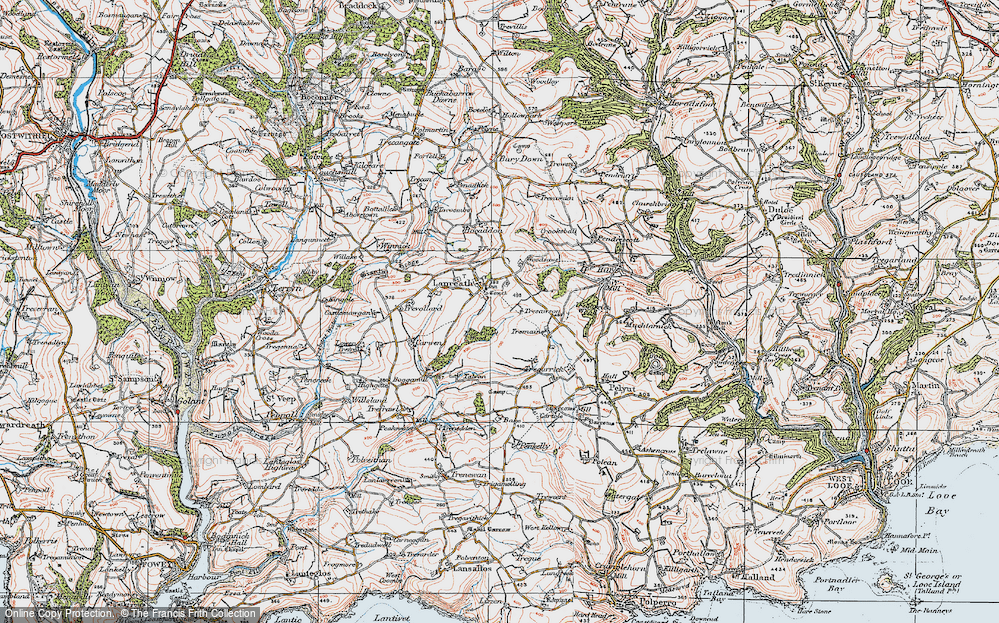 Old Map of Historic Map covering Woodsaws in 1919