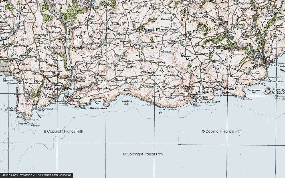 Old Map of Historic Map covering Lantivet Bay in 1919