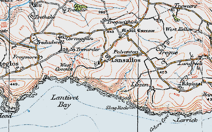 Old map of Lansallos in 1919