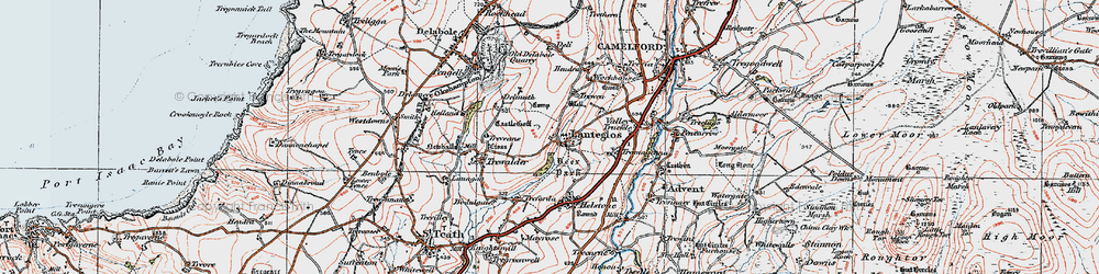 Old map of Lanteglos in 1919
