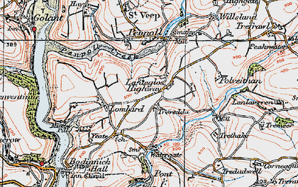 Old map of Lanteglos Highway in 1919