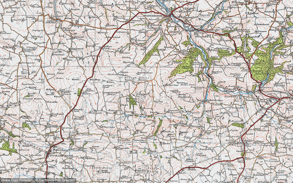 Old Map of Lantuel, 1919 in 1919