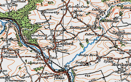 Old map of Lapford in 1919
