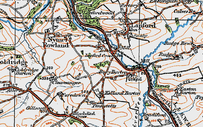 Old map of Lapford Cross in 1919