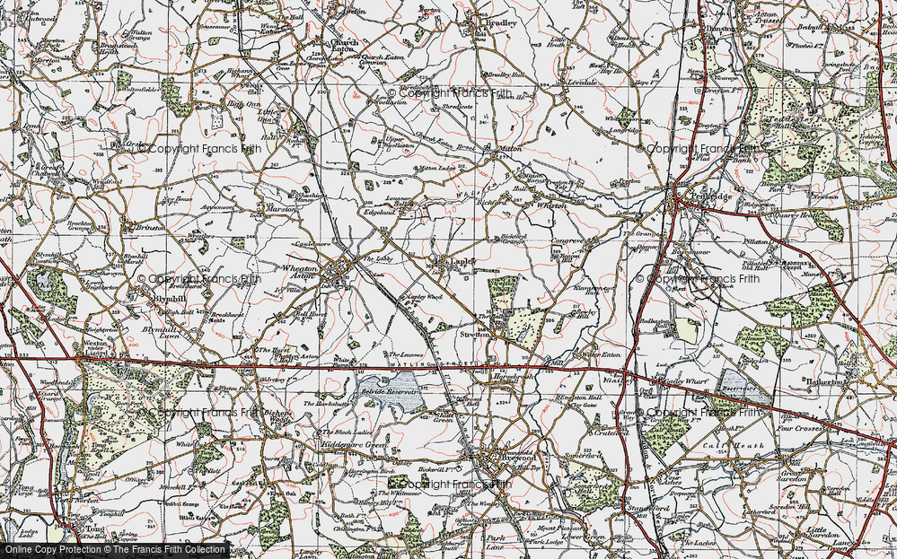 Old Map of Lapley, 1921 in 1921