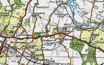 Old map of Larkfield in 1920