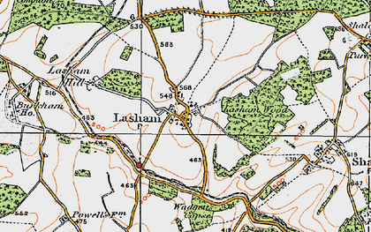 Old map of Lasham Hill in 1919