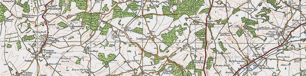 Old map of Lasham in 1919