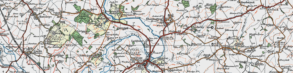 Old map of Lathbury Park in 1919
