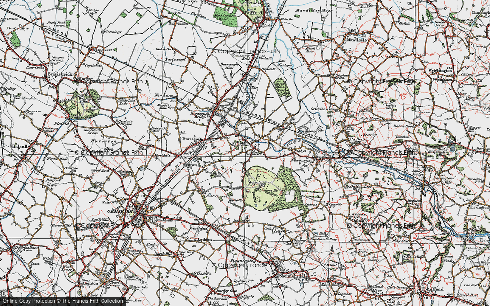 Old Map of Historic Map covering Lathom Ho in 1923