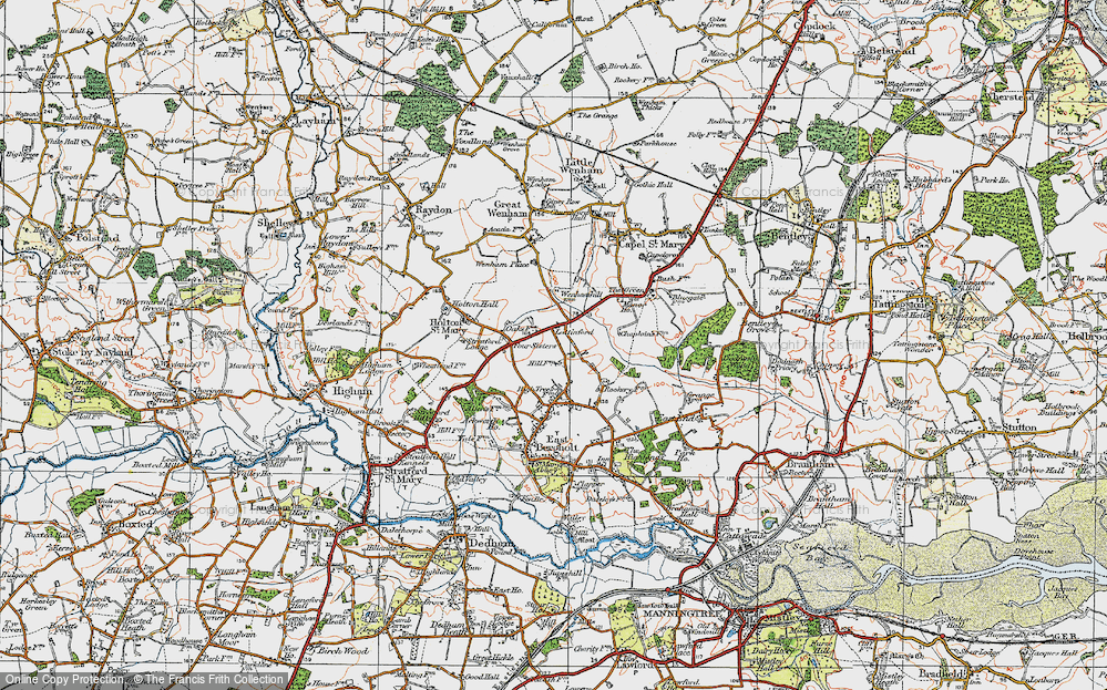 Old Map of Lattinford Hill, 1921 in 1921
