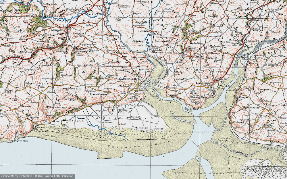 Old Map of Historic Map covering Laques-fawr in 1922