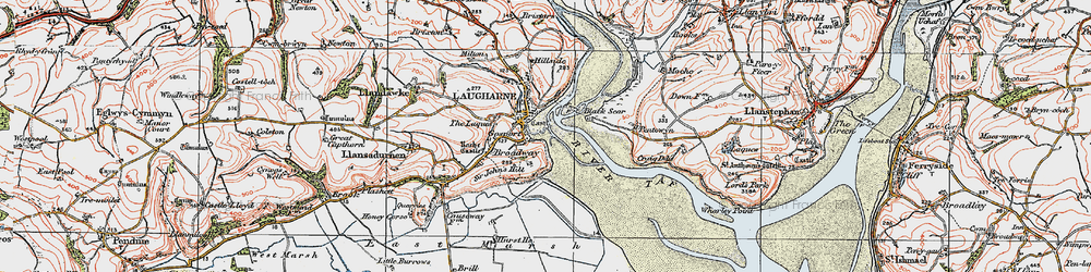 Old map of Laugharne in 1922