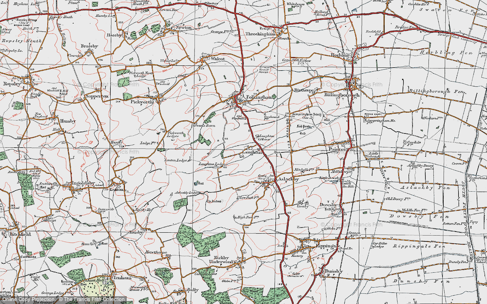 Old Map of Laughton, 1922 in 1922