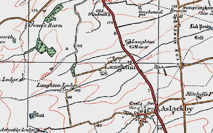 Old map of Laughton in 1922