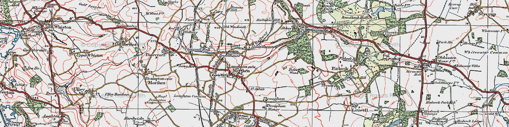 Old map of Laughton en le Morthen in 1923