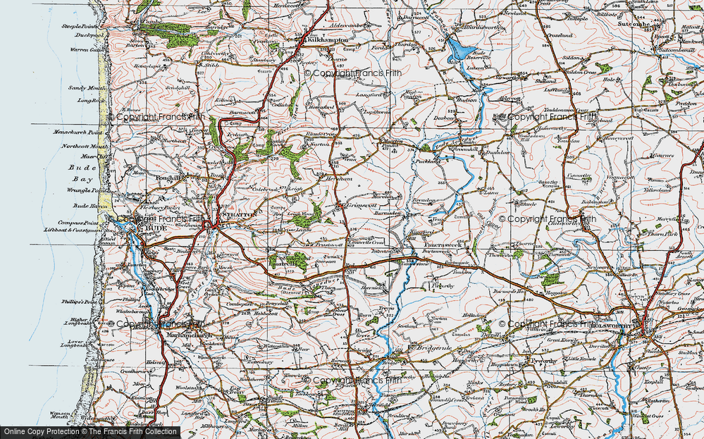 Old Map of Launcells Cross, 1919 in 1919