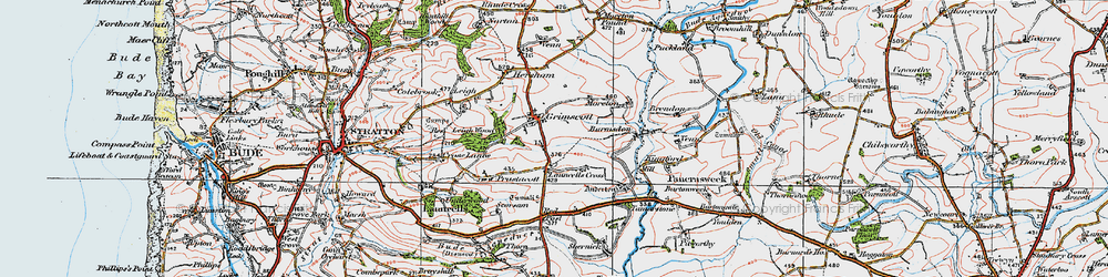 Old map of Launcells Cross in 1919