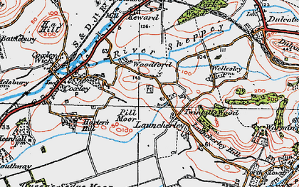 Old map of Launcherley in 1919