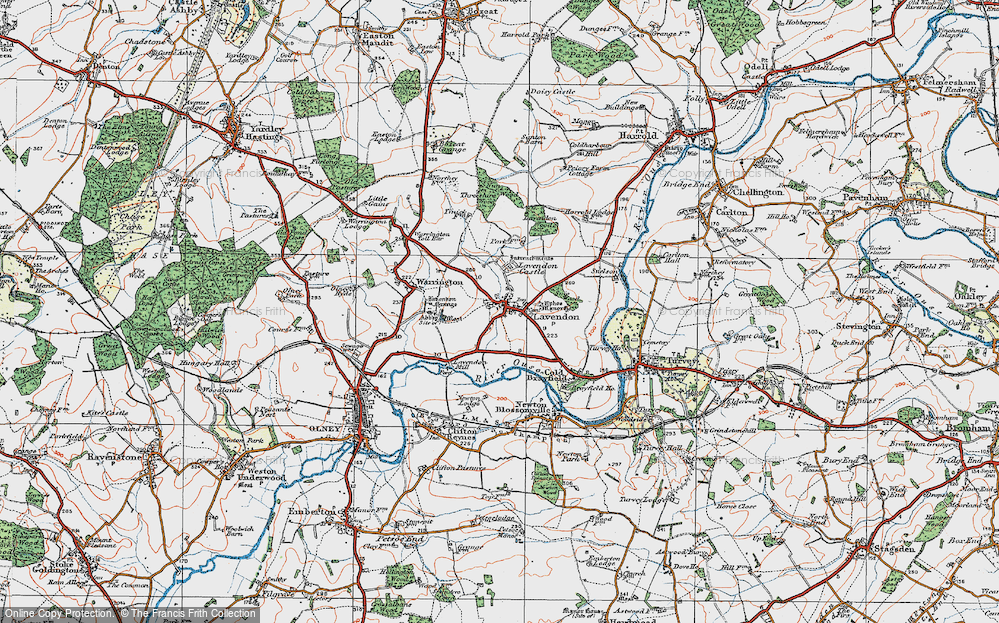 Old Map of Lavendon, 1919 in 1919