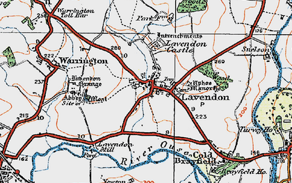 Old map of Lavendon in 1919