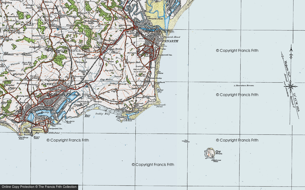 Old Map of Historic Map covering Lavernock Point in 1919