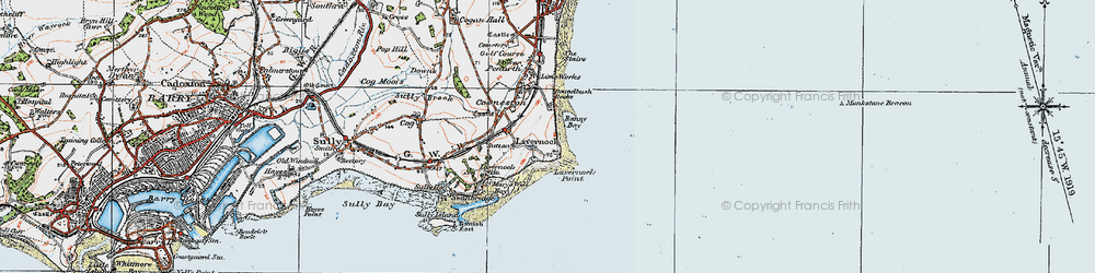 Old map of Lavernock in 1919