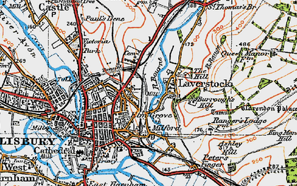 Old map of Laverstock in 1919