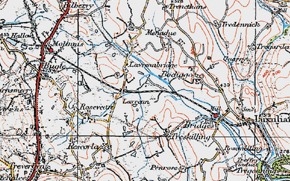 Old map of Lavrean in 1919