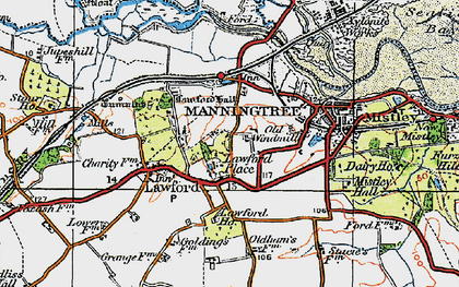 Old map of Lawford Hall in 1921