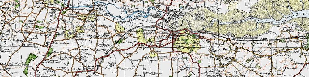 Old map of Aldhams in 1921