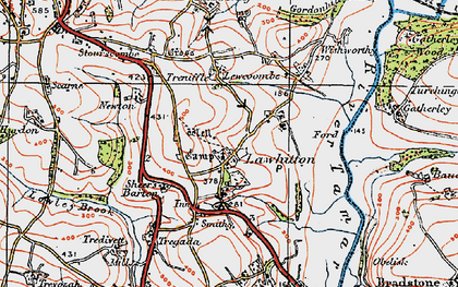 Old map of Lawhitton in 1919