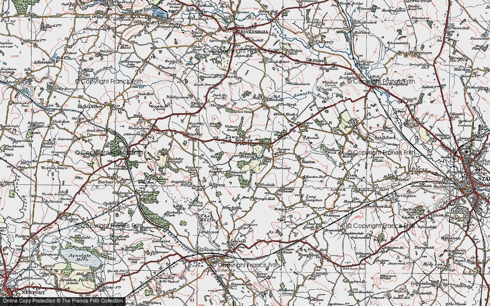 Old Map of Lawnhead, 1921 in 1921