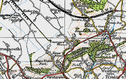 Old map of Lawrence Weston in 1919