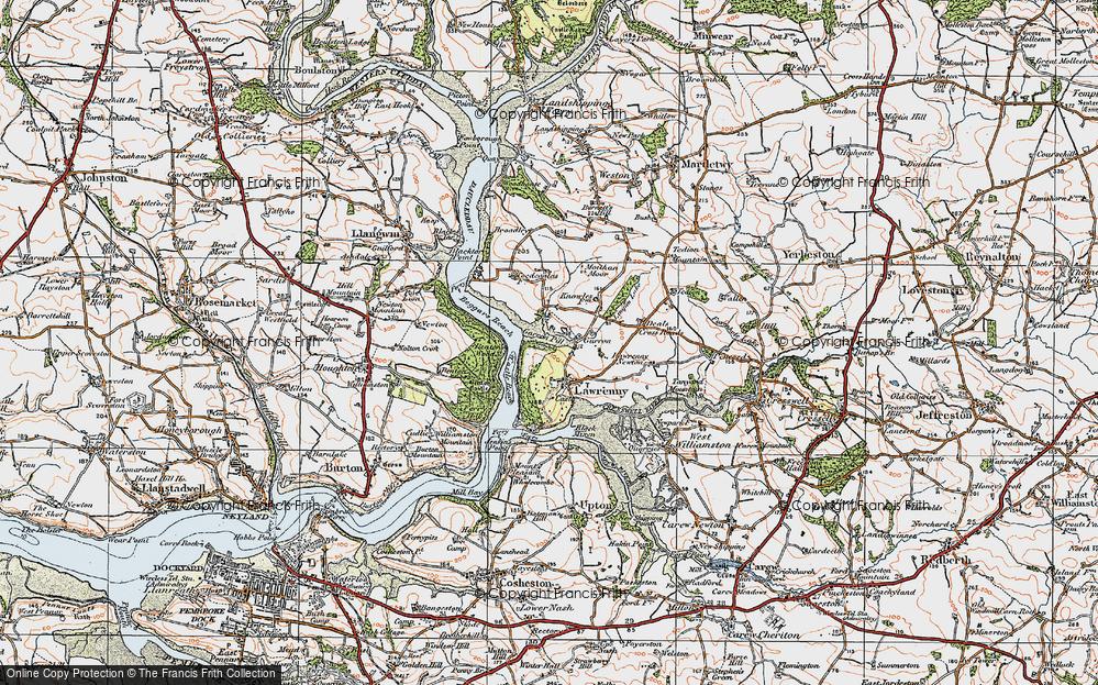 Old Map of Lawrenny, 1922 in 1922