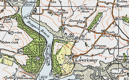 Old map of Lawrenny in 1922